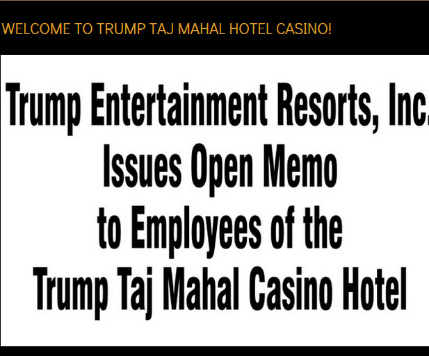 Taj Mahal Casino letter for employees