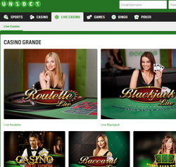 Unibet Casino: live dealers