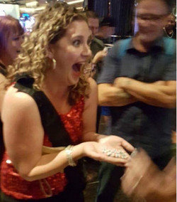 Leslie Sategna with $35000 chips winnings