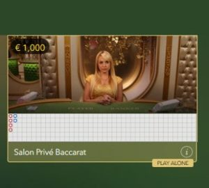 Salon Prive Baccarat : play live baccarat alone with a live dealer
