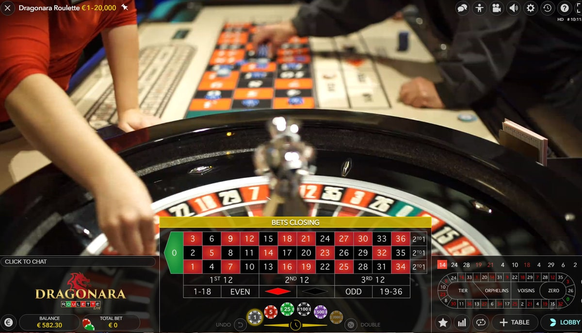 Roulette live from Dragonara Casino in Malta