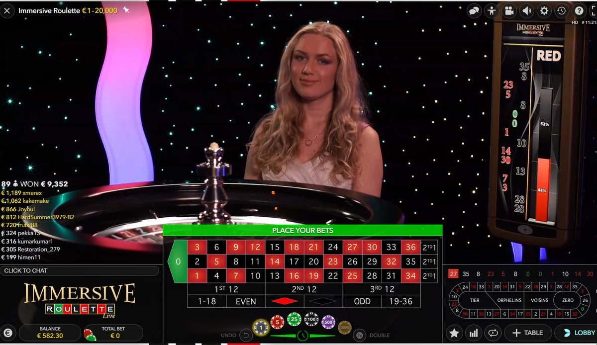 Immersive roulette with live dealer