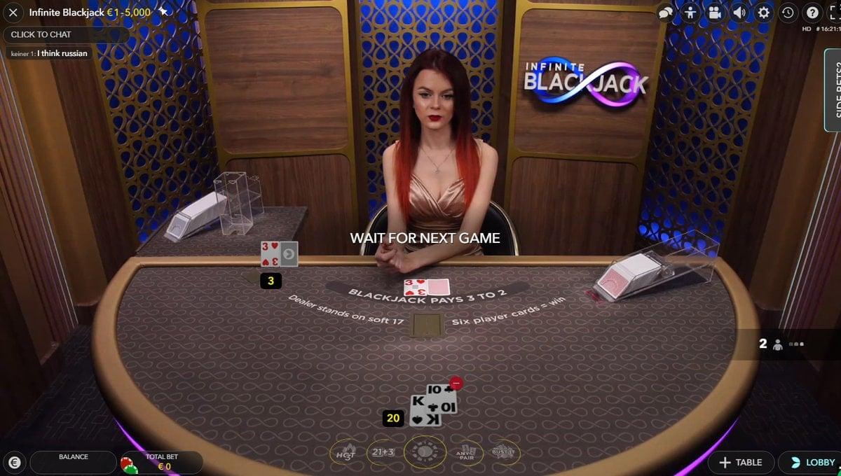 Live dealer, infinite blackjack