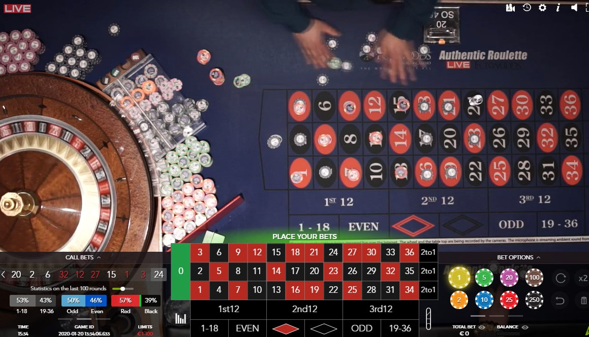 Live roulette from Foxwoods Resorts Casino in the USA