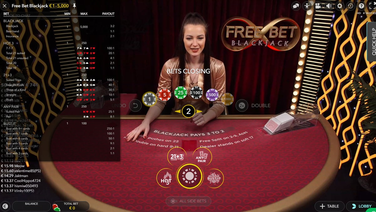 Free Bet Blackjack Payout