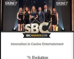 Evolution Gaming won the Innovation in Casino entertainment at the SBC Awards 2019