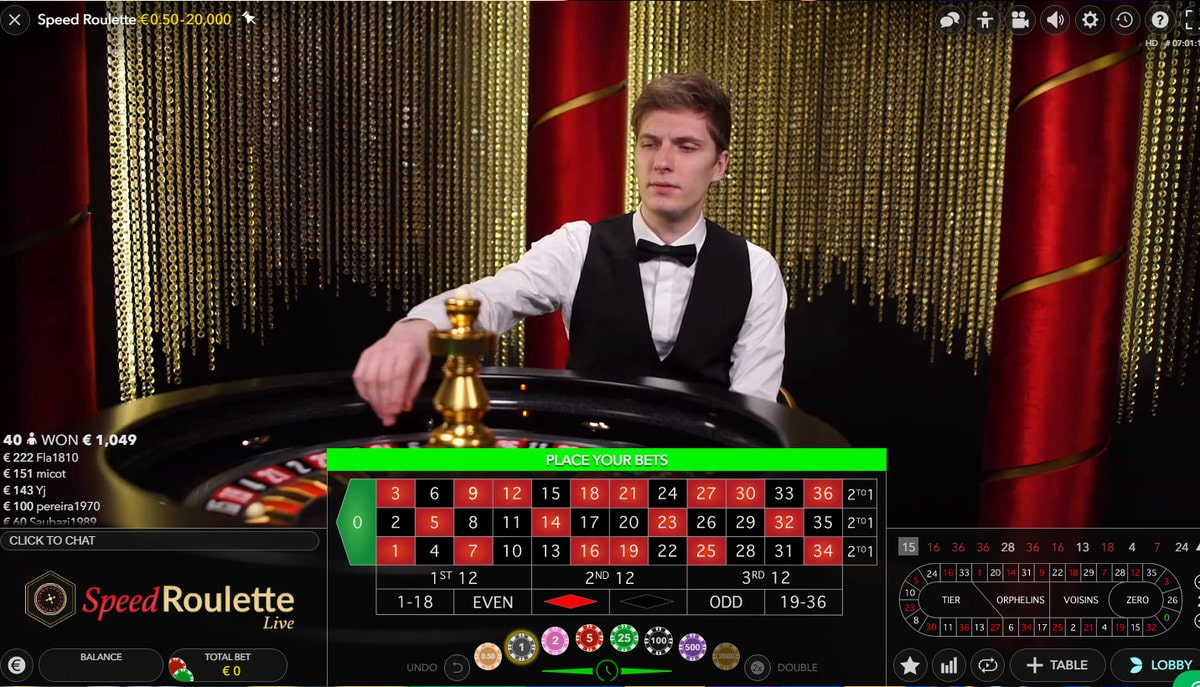 Speed Live Roulette from Evolution Gaming