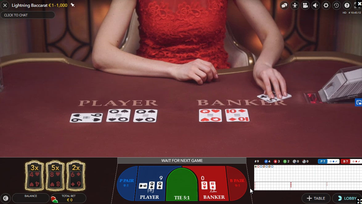 Table of the Lightning baccarat with HD images
