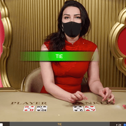 Live Dealer with a mask to protect from the Coronavirus
