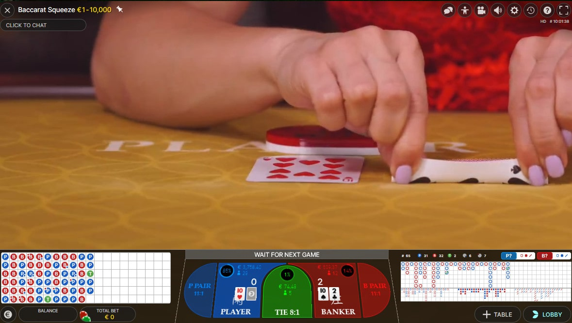 Baccarat Squeeze at PlayFrank Live Casino