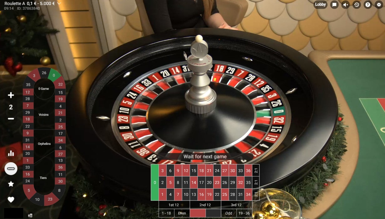 Roulette and table of the Roulette Azure by Pragmatic Play Live