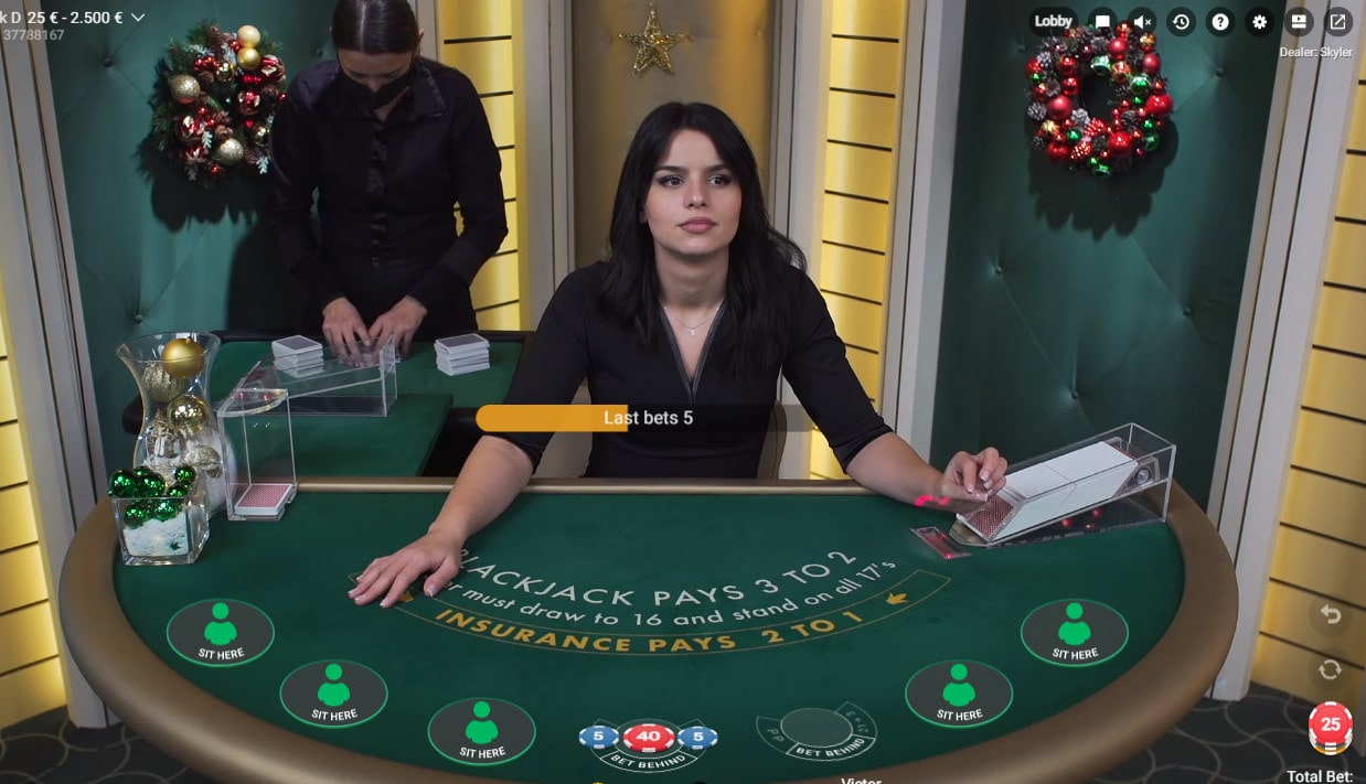 Online Blackjack table by Pragmatic Play Live Casino