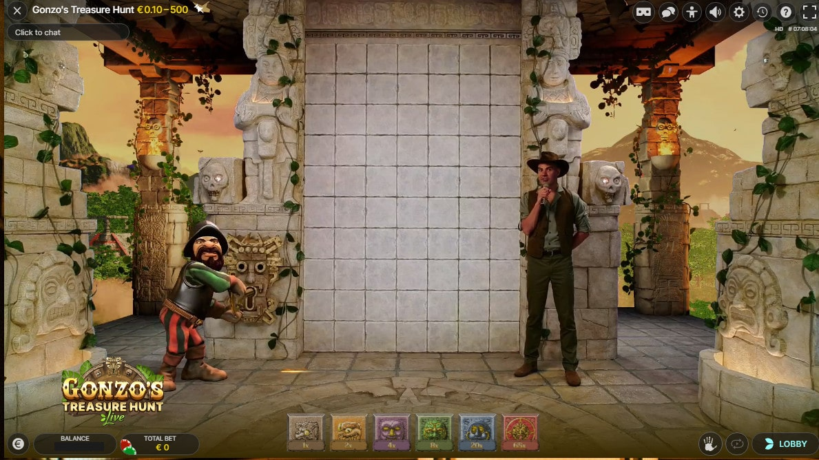 3D animations and live dealer in the studio of Gonzo's Treasure Hunt